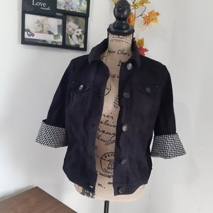 Style & Co black denim ruffled sleeve jacket